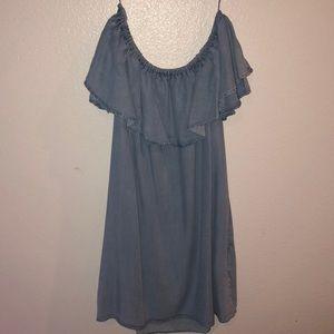 Zara Dresses - Zara Ruffles Off-the-shoulder Chambray Mini Dress